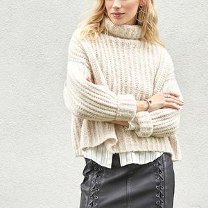 Free People Fluffy Fox Cowl Neck Sweater